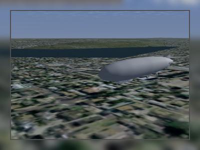 Screenshot aus FlightGear: Zeppelin LZ 121 Nordstern über Flensburg