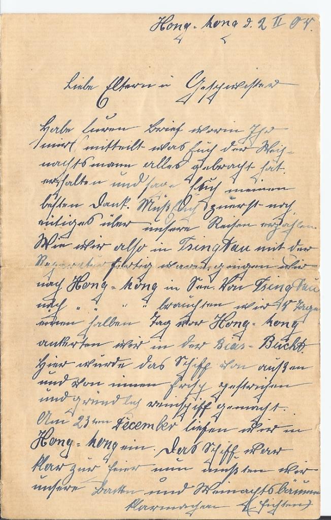 Brief aus Hong-Kong, 2. Feb 1904, Seite 1