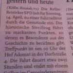 Zeitungshinweis Kölln-Reisiek gestern und heute